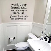 Wash Your Hands and Say Your Prayers' 17 x 16-inch Wall Decal CHOCOLATE BROWN