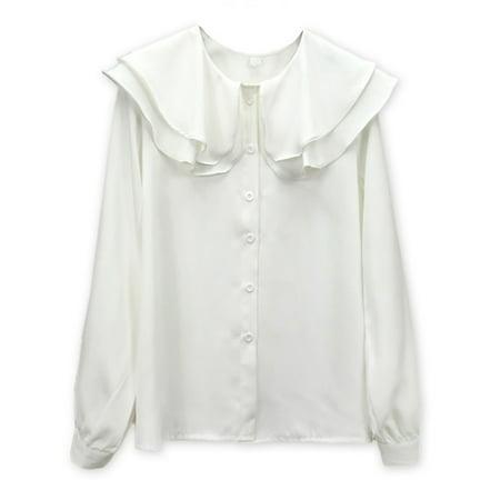 Ruffle Collar Blouse - Maraso Women Long Sleeve Doll Collar Solid Color Ruffled Chiffon Shirt Blouse Tops
