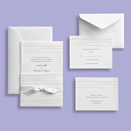 Brides White Waves Embossed Wedding Invitation Kit