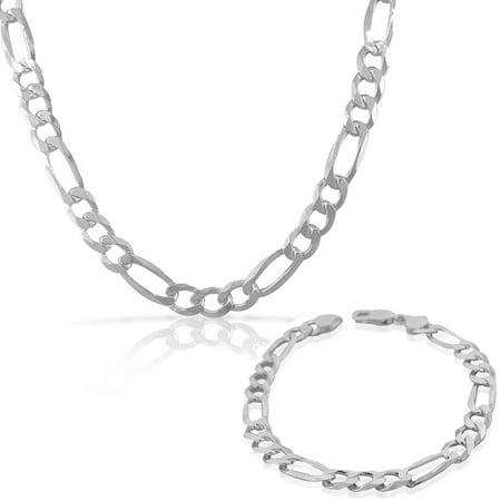 6ffdb7bdcb77 My Daily Styles - 925 Sterling Silver Mens Classic Figaro Link Chain  Necklace Bracelet Set - Made in Italy - Walmart.com