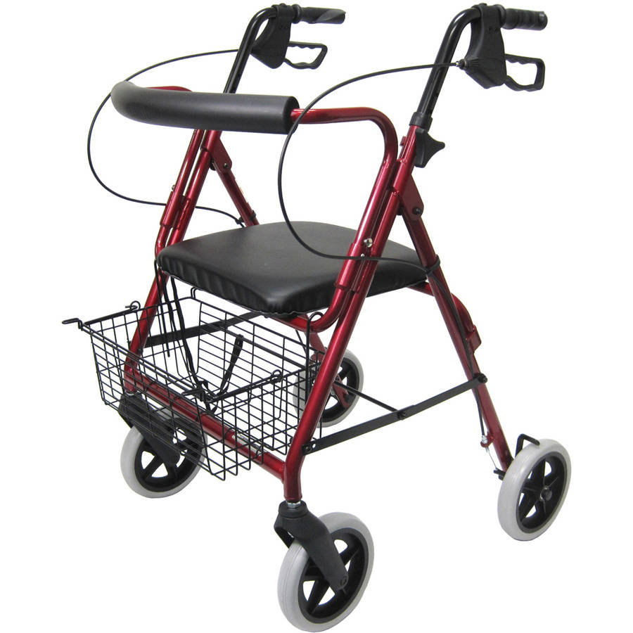 "Karman R-4608 Lightweight Rollator with 8"" Wheels, Loop Brakes, Padded Backrest and Seat, Burgundy"
