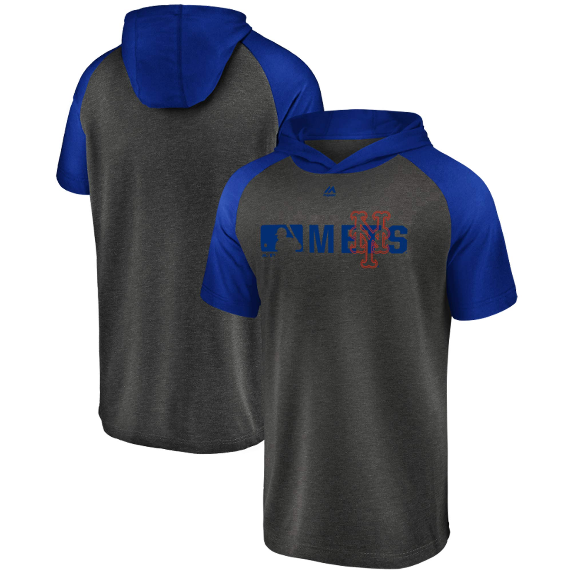 New York Mets Majestic Authentic Hooded Tri-Blend T-Shirt - Charcoal/Royal