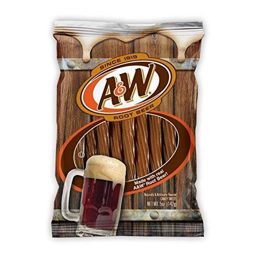 48 PACKS : A&W Root Beer Licorice Twists Made with Real A & W Root Beer! by Kennys Candy Co