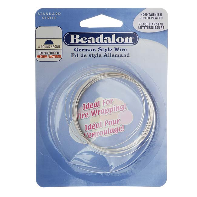 Silver Plated Half Round German Style Craft Wire 21 Gauge/.028 In. (4 Meters)