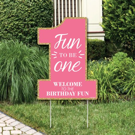 Fun to be One - 1st Birthday Girl - Party Decorations - First Birthday Party Welcome Yard Sign