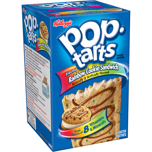 Kellogg's Pop-Tarts Ice Cream Shoppe Frosted Rainbow Cookie Sandwich Toaster Pastries, 8ct