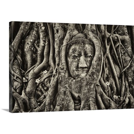 Great BIG Canvas Scott Stulberg Premium Thick-Wrap Canvas entitled Buddha Head in Tree Roots, Wat Mahathat, Ayutthaya, Thailand