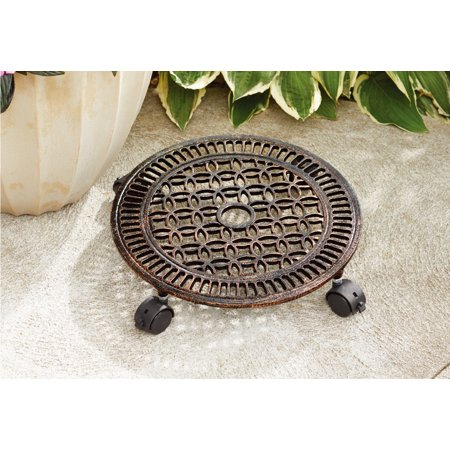 Better Homes and Gardens 14 in. Outdoor Lattice Cast Iron Plant Caddy