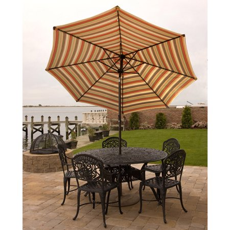 Bliss Hammocks 9 Aluminum Market Umbrella With Crank And Tilt Features  Green Stripe