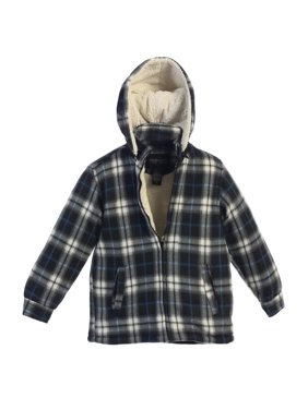 Gioberti Little Boys Blue Plaid Sherpa Lined Hooded Flannel Jacket