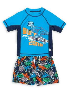 Little Boy's 2-Piece Dinosaur Rashguard & Swim Short Set