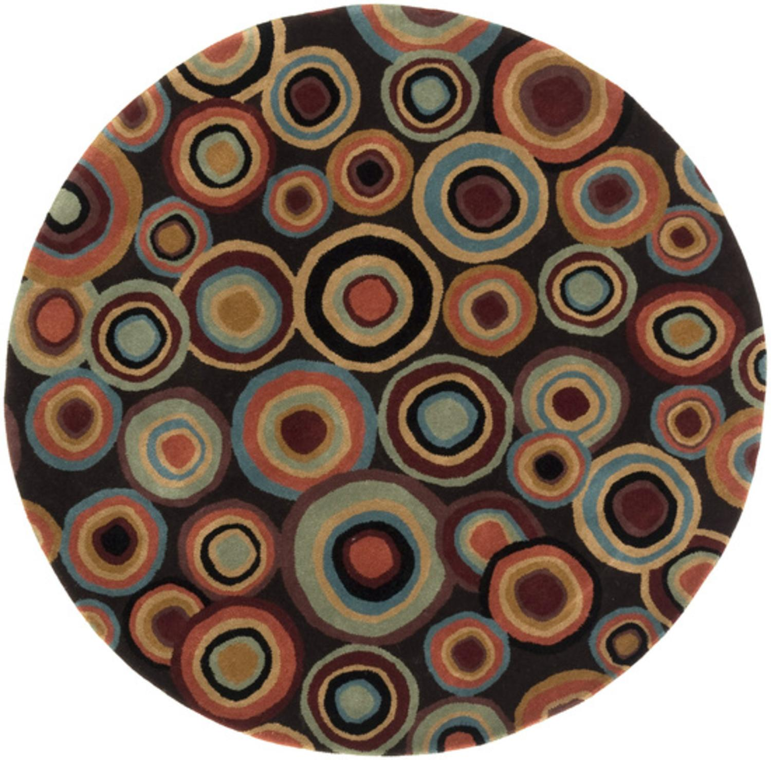 6' Seeing Spots Cameo Blue and Plum Wine Hand Tufted Wool Round Area Throw Rug