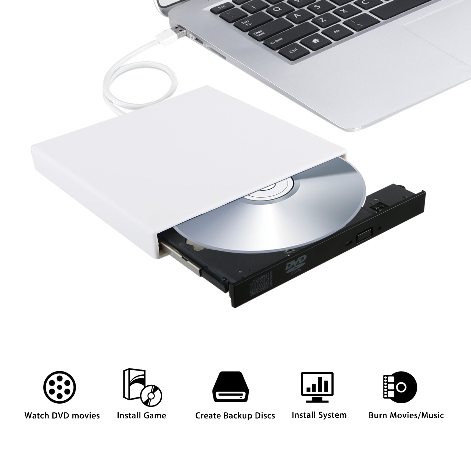 External DVD Drive USB 2.0 External Portable CD- DVD ROM Combo Burner Drive Write for Laptop Notebook PC Desktop Computer(White)
