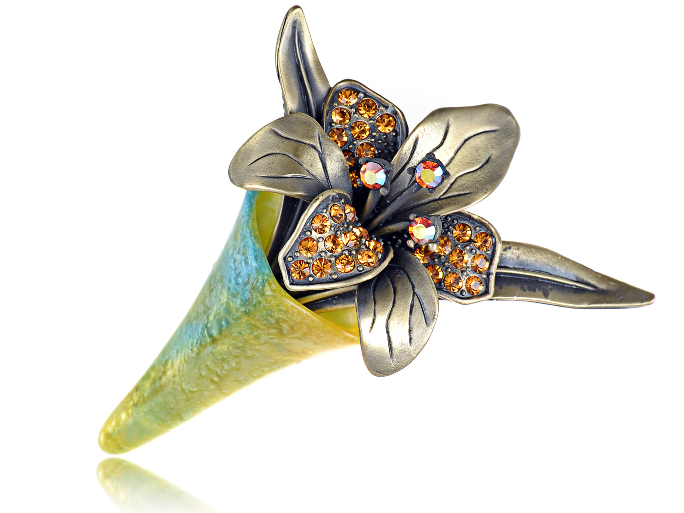 Crystal Elements Old Antique Topaz Flower Bouquet Pin Brooch by