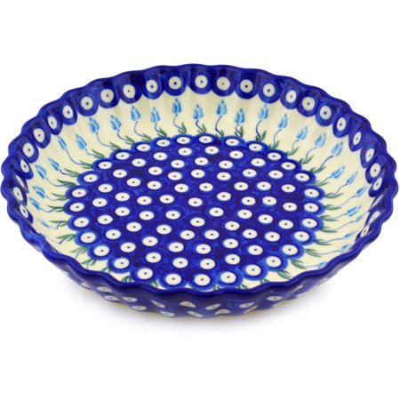 Polish Pottery Pie Dish (Polish Pottery 9¾-inch Fluted Pie Dish (Floral Peacock Theme) Hand Painted in Boleslawiec, Poland + Certificate of Authenticity )