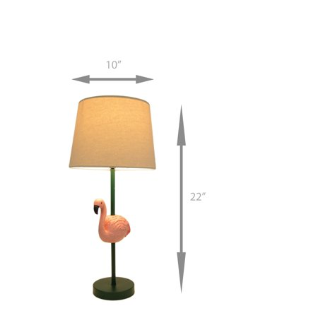 Tropical Pink Flamingo Table Lamp with White Linen Look Shade - image 1 of 4