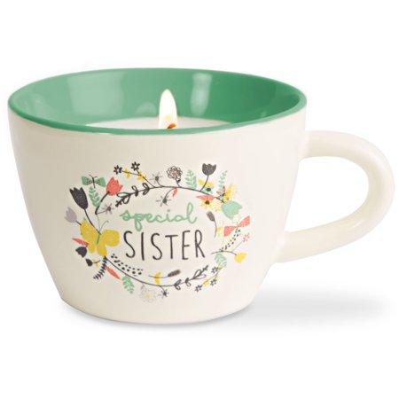 - Pavilion - Special Sister - Teal Ceramic Floral Teacup Candle