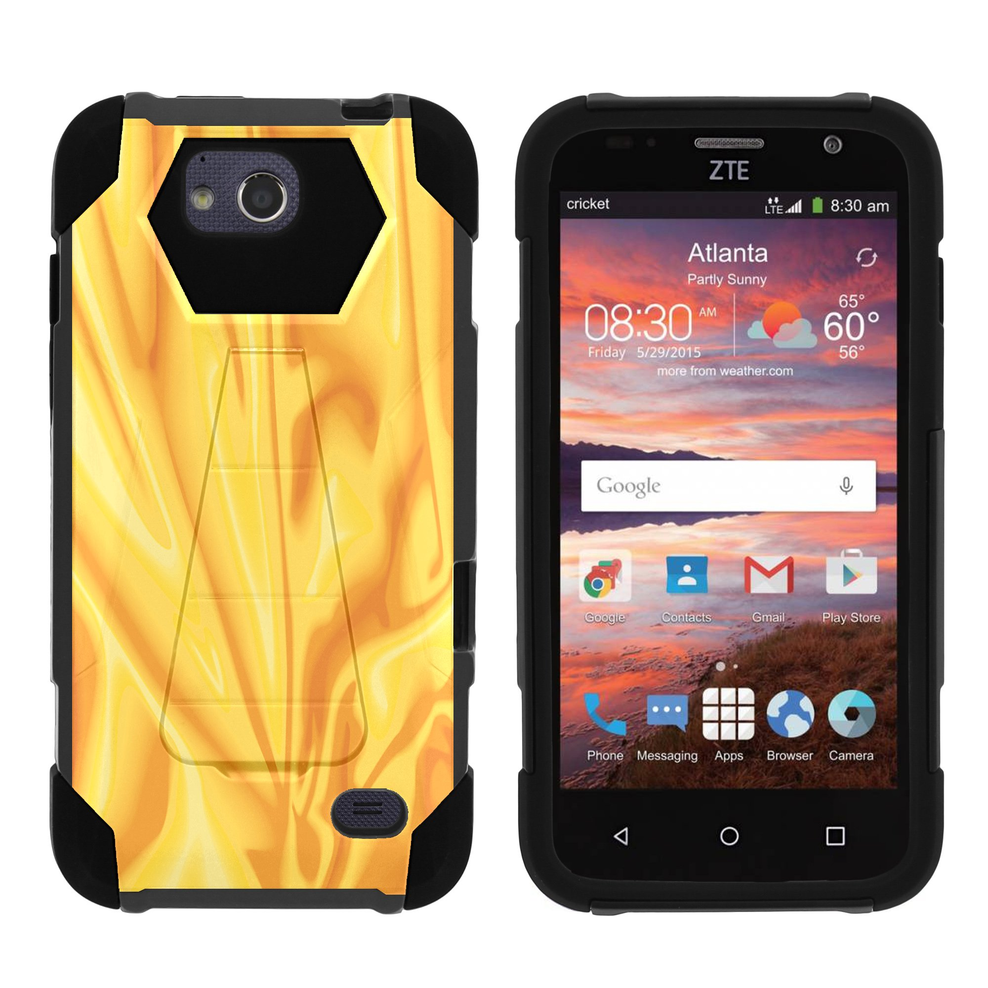 TurtleArmor ® | For ZTE Majesty Pro [Dynamic Shell] Dual Layer Hybrid Silicone Hard Shell Kickstand Case - Black