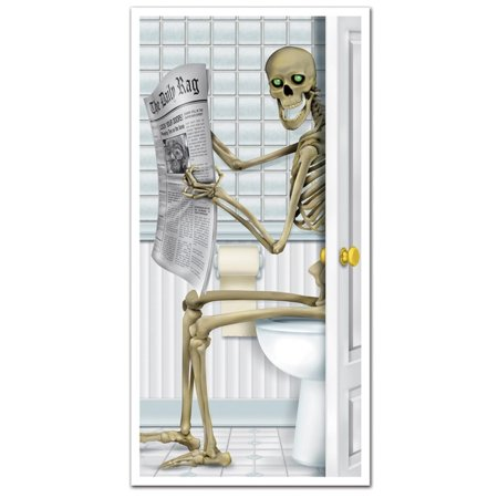 Club Pack of 12 Halloween Skeleton Restroom Door Cover Party Decorations 5'