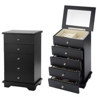 3b109da0d50 Wooden Jewelry box jewelry Chest Organizer Wooden Cabinets Drawers With  Make-up Mirror - Black - SortWise™