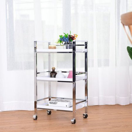 costway 3 tier trolley storage lockable wheels kitchen bathroom utility cart - Bathroom Cart