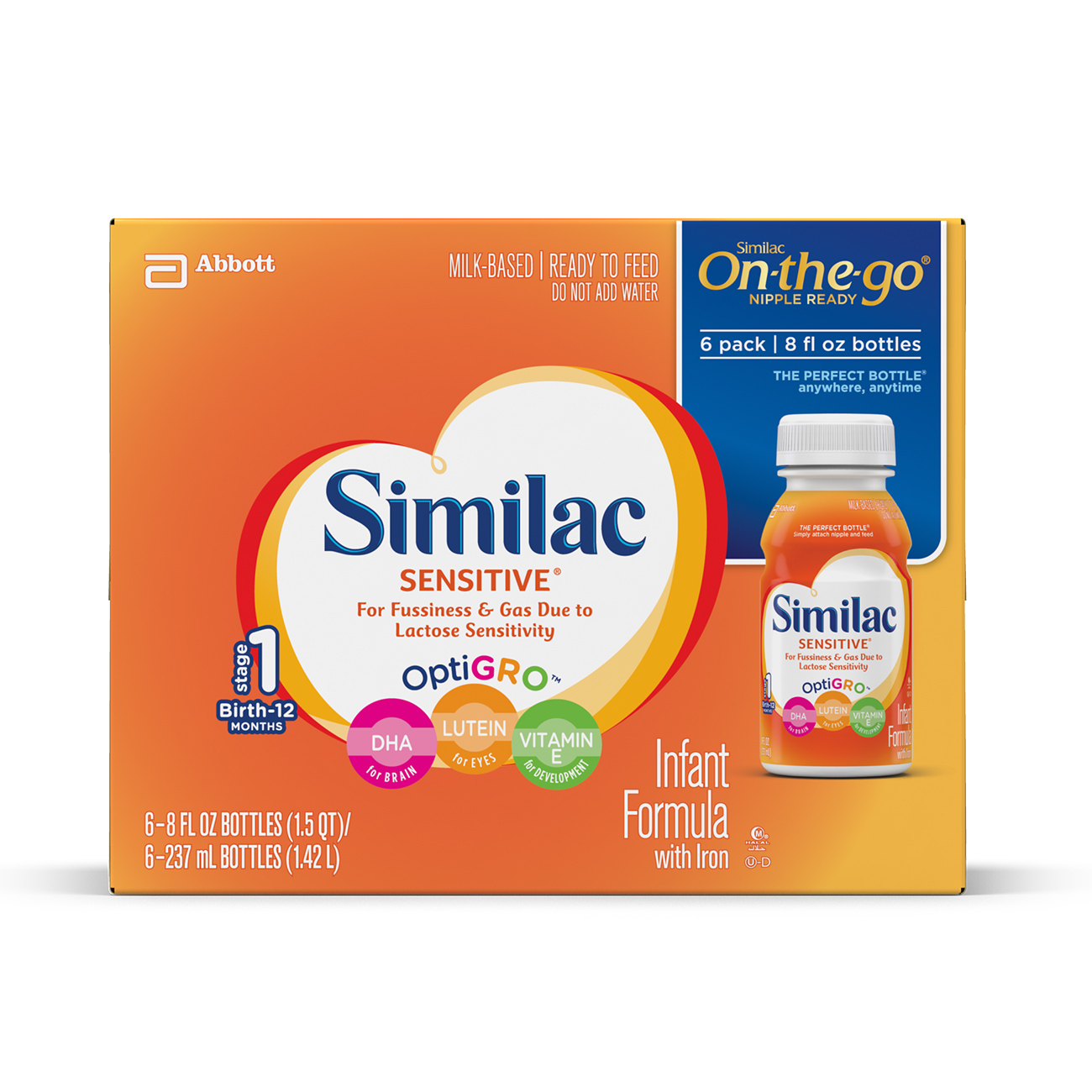 Similac Sensitive Infant Formula with Iron, Ready-to-Feed, 8 fl oz (Pack of 6)