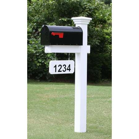 Weather Vinyl Mailbox Cover - The Madison Mailbox System with White Vinyl Post Combo, Stand, and Black Mailbox Included