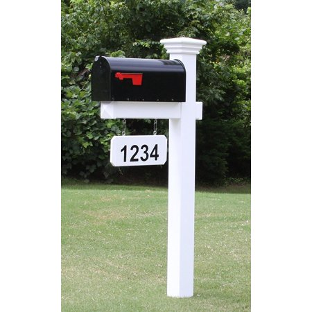 The Madison Mailbox System with White Vinyl Post Combo, Stand, and Black Mailbox Included