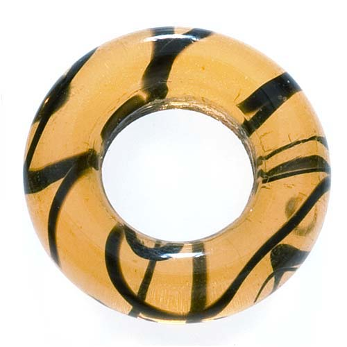 Czech Glass 14mm Donut Link Ring Tiger Stripe (6 Beads)