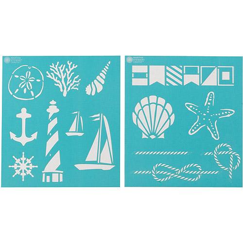 "Martha Stewart Medium Stencils 2 Sheets/pkg, Nautical Study 8-3/4""x9-3/4"", 14 Designs"