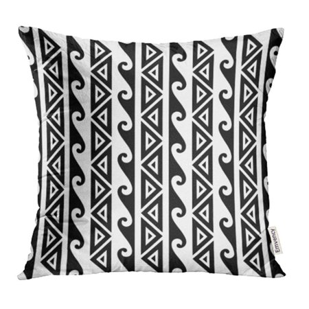 CMFUN Black Tribal Kakau Hawaiian Wave Pattern Tattoo White Hawaii Pacific Ancient Pillowcase Cushion Cover 20x20 inch