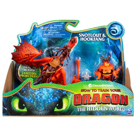 DreamWorks Dragons, Hookfang and Snotlout, Dragon with Armored Viking Figure, for Kids Aged 4 and