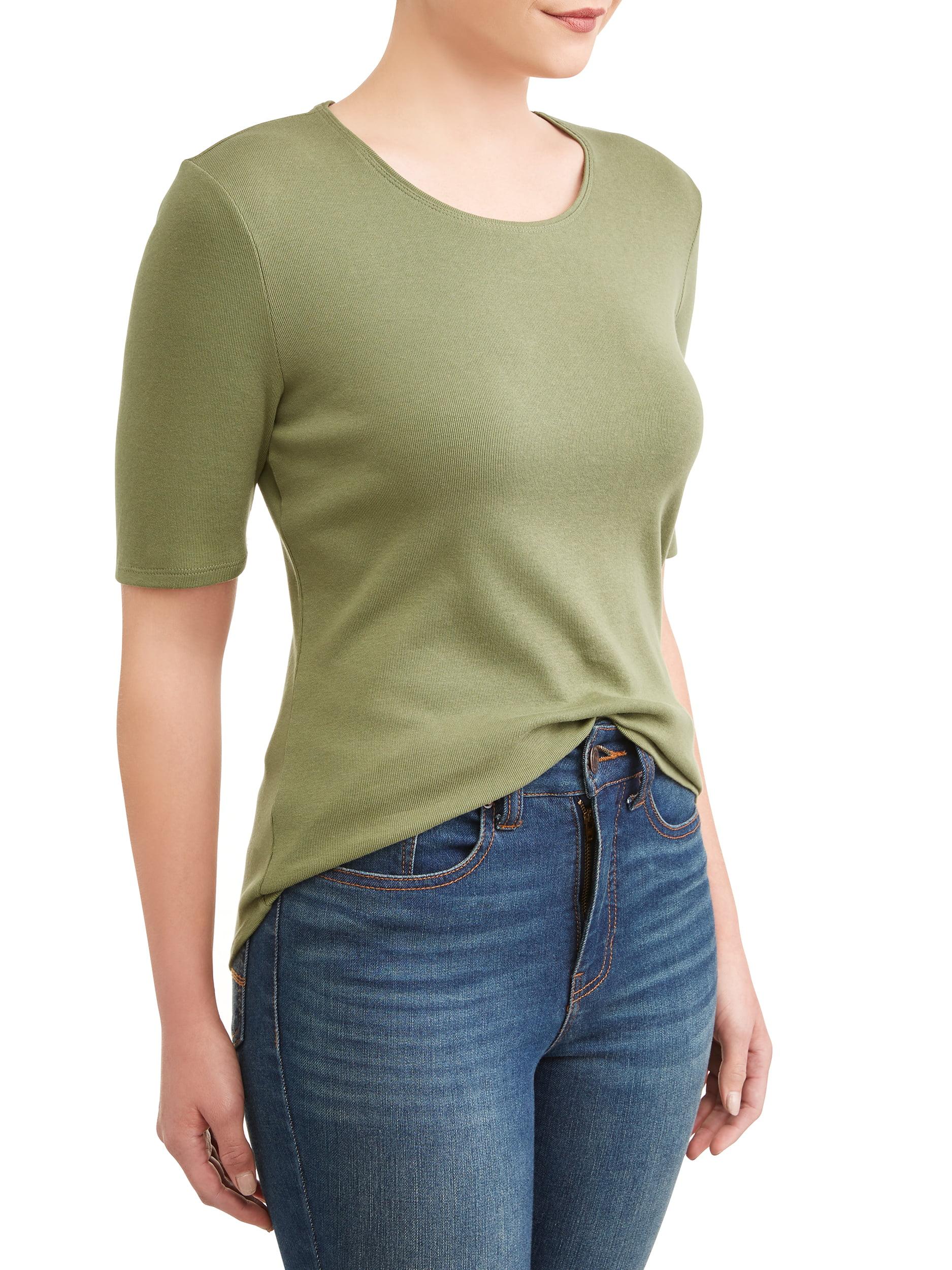 ea5c126ce Time and Tru - Women's Scoop Neck Elbow Sleeve Tee - Walmart.com
