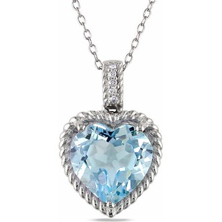 7 Carat T.G.W. Blue Topaz and Diamond-Accent Sterling Silver Heart Pendant, (Citrine Bezel Necklace)
