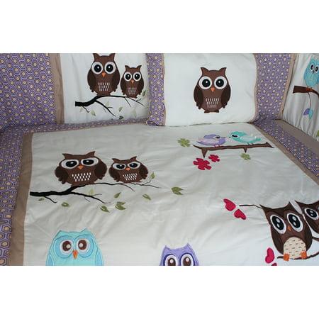 Babyfad Owl Purple 10 Piece Crib Bedding Set Walmart Canada
