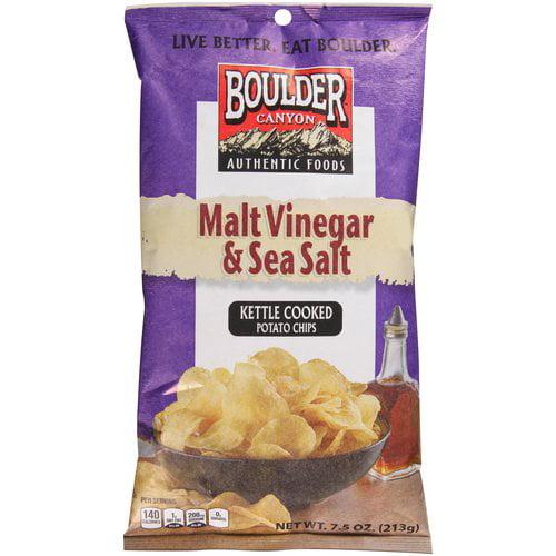 Boulder Canyon Kettle Cooked Malt Vinegar & Sea Salt Potato Chips, 7.5 Oz.