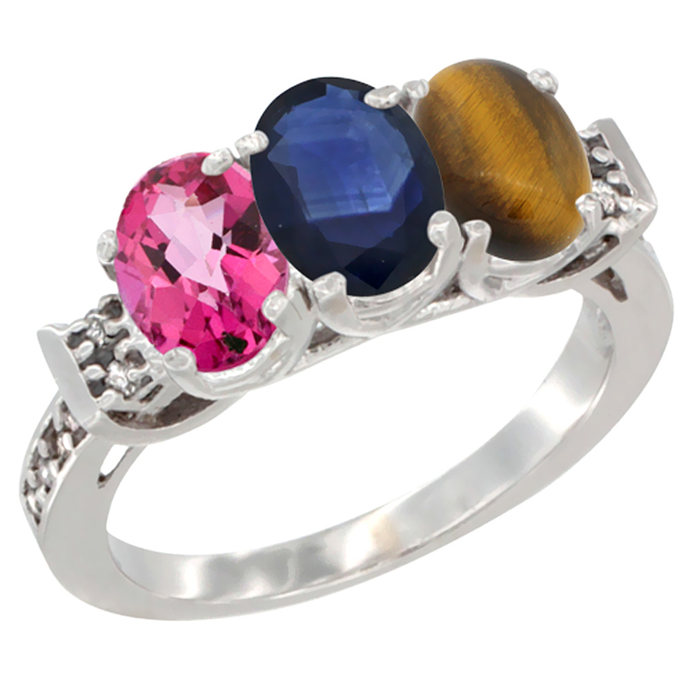 10K White Gold Natural Pink Topaz, Blue Sapphire & Tiger Eye Ring 3-Stone Oval 7x5 mm Diamond Accent, sizes 5 10 by WorldJewels