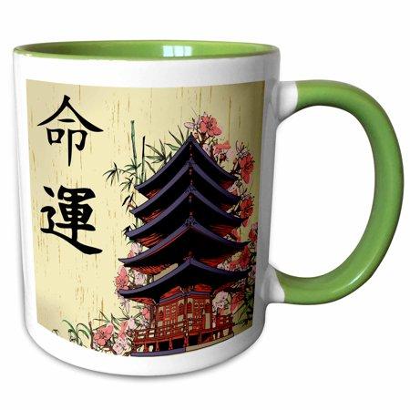 3dRose Beautiful Japanese Pagoda With Pink Sakura and Bamboo Destiny Luck Kanji Symbols Asian Design - Two Tone Green Mug, 11-ounce](Pink Bamboo)