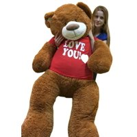 big plush 5 foot giant teddy bear 60 inches soft cinnamon brown color wears i love you tshirt