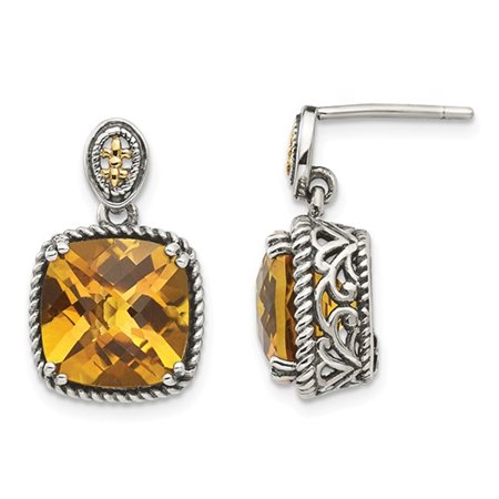 Natural Citrine 7.20 Carat (ctw) Post Drop Earrings in Sterling Silver with 14K Gold Accents - image 3 de 3
