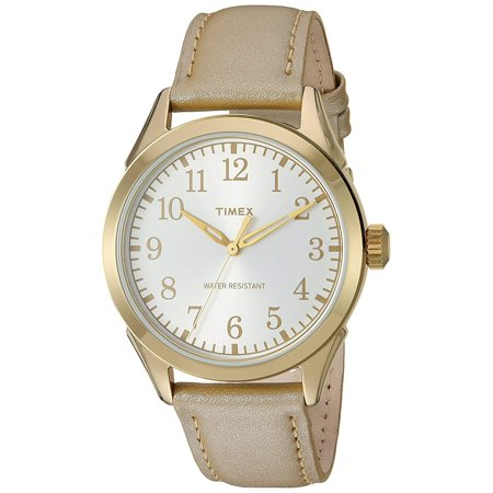 Women's Briarwood Terrace Watch, Light Gold Leather Strap Timex Briarwood Leather Ladies Watch TW2P99300