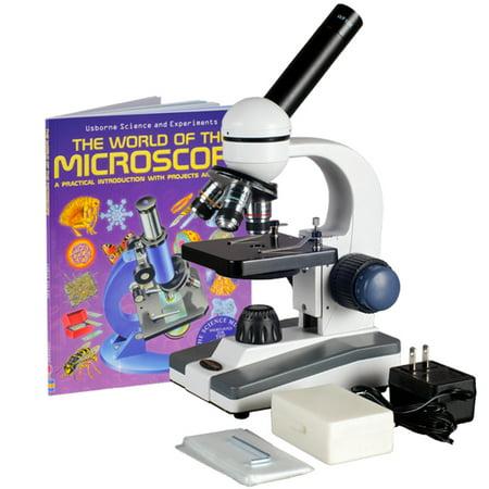 AmScope 40X-1000X Glass Lens Metal Frame LED Compound Microscope + Slide Kit & Book