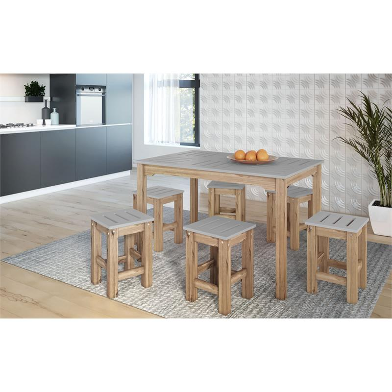 "7-Piece Stillwell 47.25""  Dining Set  in Gray and Natural Wood"