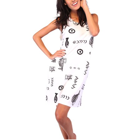 Women's Plus Size Dress Summer Beach Casual Short Tank Cotton Cover Up Print Fish Dress