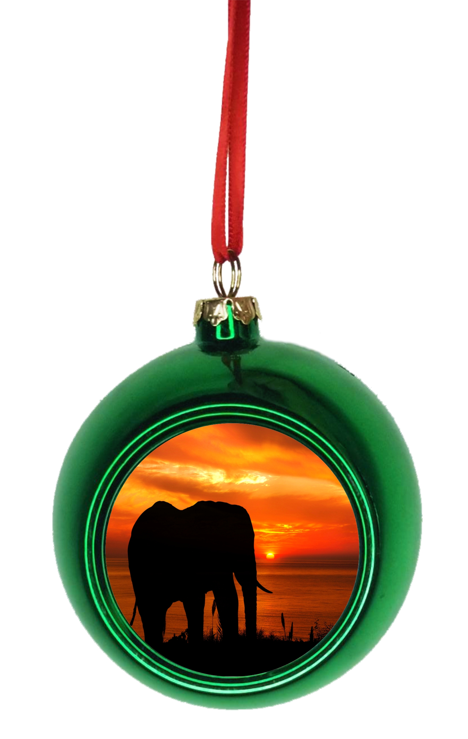 Ornament Elephant Silhouette At Sunset Bauble Christmas Ornaments Green Bauble Tree Decoration