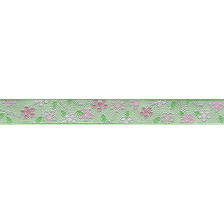 5/8 Inch Fresh Spring Floral Jacquard Ribbon Closeout - Various Lengths Available (Floral Jacquard Ribbon)