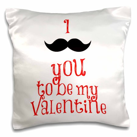 3dRose I Mustache you to be my valentine, red lettering, black mustache - Pillow Case, 16 by 16-inch - Mustache Pillow