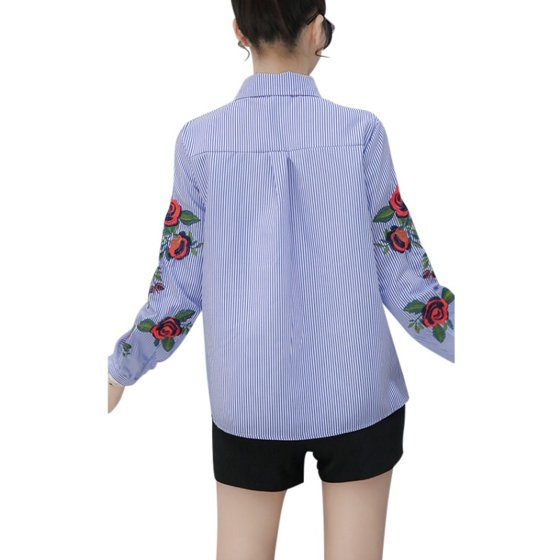 3212b6eaa9e492 EFINNY - EFINNY Elegant Women Embroidered Casual Long Sleeve Office T-shirts  Blouses Shirts Tops Plus Size S-4XL - Walmart.com