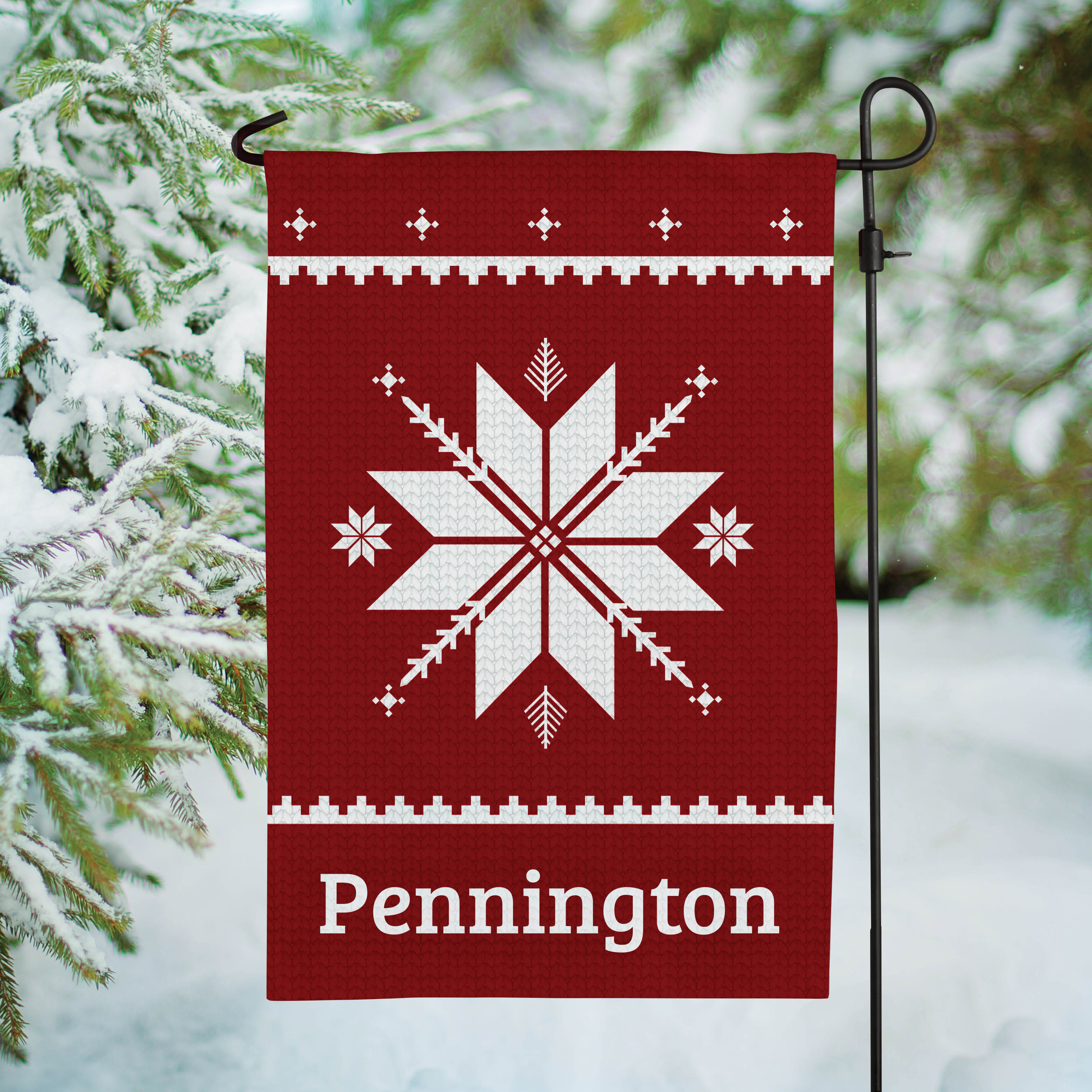 Holiday Snowflakes Personalized Garden Flag