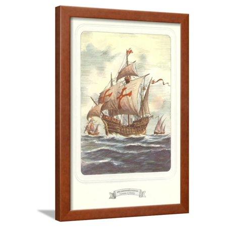 Columbus Caravels, Nina, Pinta, Santa Maria Framed Print Wall